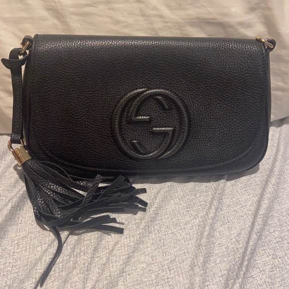 Gucci Leather sling Bag silver Chain